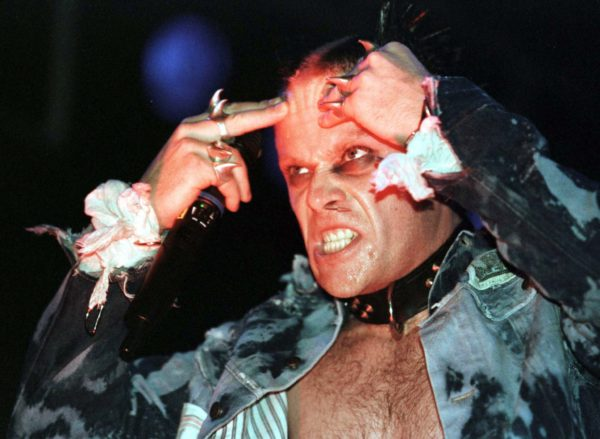 "Keith Flint of British rock band ""The Prodigy"" performs on stage during a concert in Vienna, in 1997. The Prodigy performed in front of some 15,000 spectators during the ""Sundance '97"" open-air festival."