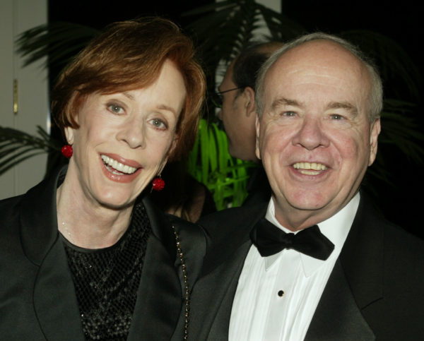 "Actor Tim Conway poses with actress Carol Burnett at the Academy of Television Arts & Sciences 15th annual Hall of Fame ceremony November 6, 2002 in Beverly Hills. Conway, best known for his comedy work on ""The Carol Burnett Show"" was inducted into the academy's Hall of Fame which honors legendary television performers. Photo by Fred Prouser/Reuters"