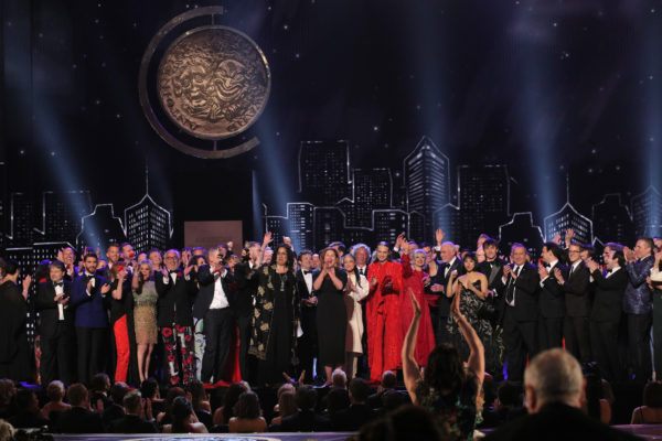 "The cast and crew of ""Hadestown"" accept the award for Best Musical at the 73rd Annual Tony Awards. Photo by Brendan McDermid/Reuters"