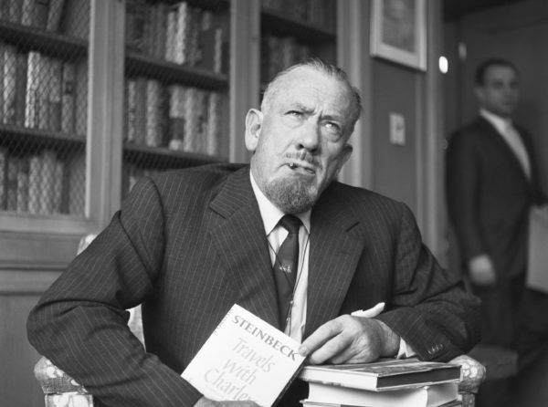 Author John Steinbeck holds a press conference after being awarded the 1962 Nobel Prize for Literature. Photo courtesy of Getty Images