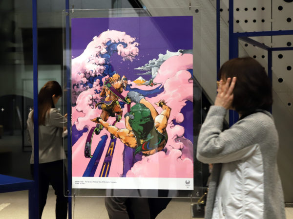An art poster of Japanese comic artist Hirohiko Araki is displayed at a press preview for the Tokyo 2020 Olympics and Paralympics official art posters exhibition at the Museum of Contemporary Art Tokyo. Photo by Yoshio Tsunoda/AFLO via Reuters