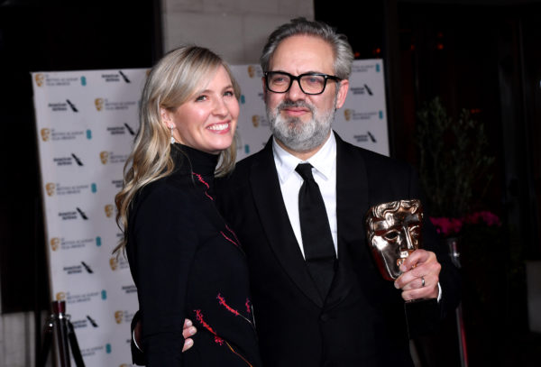 Sam Mendes with his Best Film Bafta award for 1917 alongside Alison Balsom attending the after show party for the 73rd British Academy Film Awards.